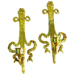 TWO VINTAGE BRASS WALL CANDLE HOLDERS
